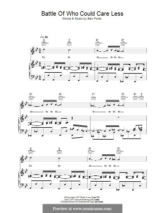 Battle of Who Could Care Less (Ben Folds Five): Für Stimme und Klavier (oder Gitarre) by Ben Folds