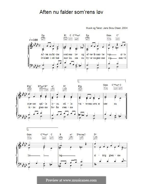 Aften Nu Falder Som'rens Løv: Für Stimme und Klavier (oder Gitarre) by Jens Skou Olsen