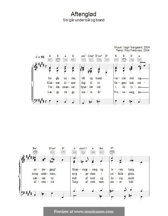 Aftenglød - Sol Går Under Bål Og Brand: Für Stimme und Klavier (oder Gitarre) by Vagn Nørgaard
