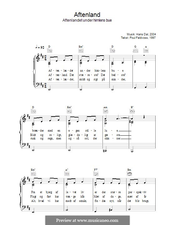 Aftenland - Aftenlandet Under Himlens Bue: Für Stimme und Klavier (oder Gitarre) by Hans Dal