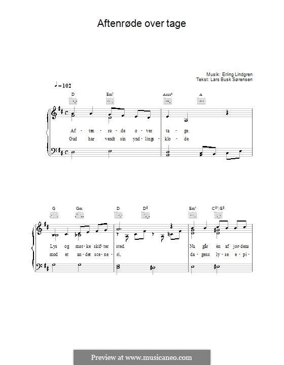 Aftenrøde Over Tage: Für Stimme und Klavier (oder Gitarre) by Erling Lindgren