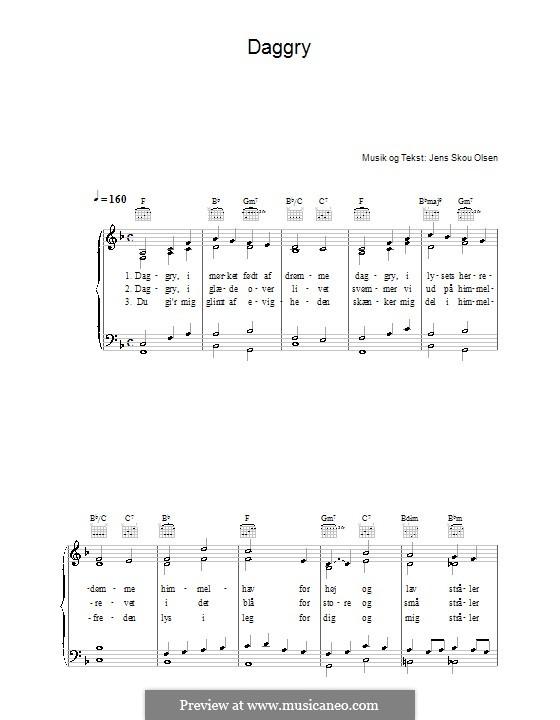 Daggry: Für Stimme und Klavier (oder Gitarre) by Jens Skou Olsen