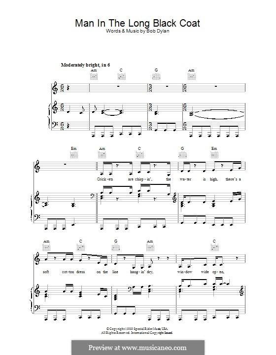 Man in the Long Black Coat: Für Stimme und Klavier (oder Gitarre) by Bob Dylan
