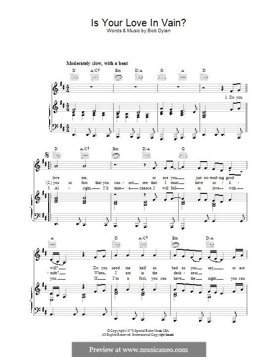 Is Your Love in Vain: Für Stimme und Klavier (oder Gitarre) by Bob Dylan