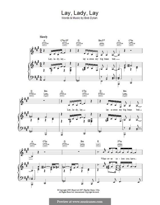 Lay Lady Lay: Für Stimme und Klavier (oder Gitarre) by Bob Dylan