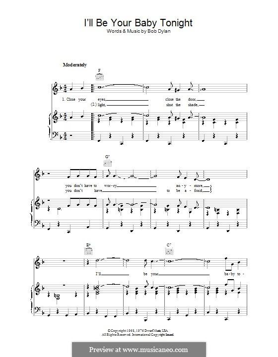 I'll Be Your Baby Tonight: Für Stimme und Klavier (oder Gitarre) by Bob Dylan