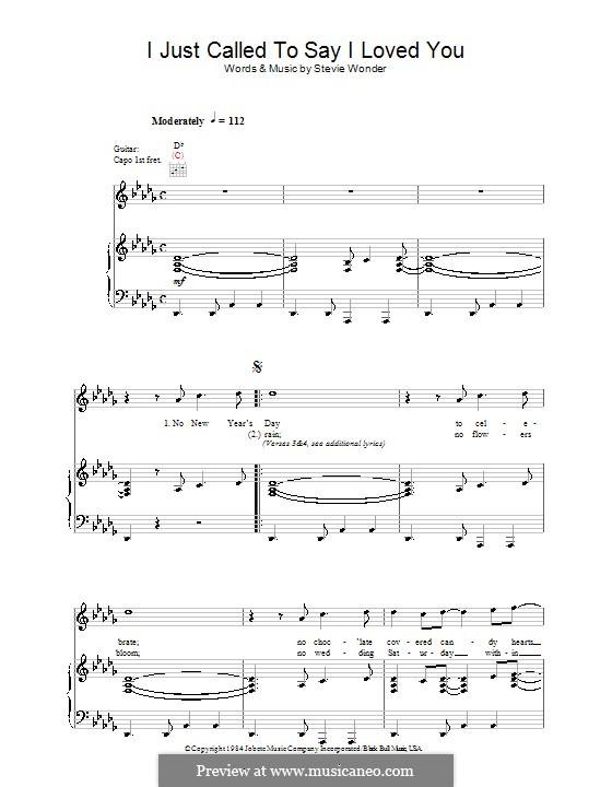 I Just Called to Say I Love You: Für Stimme und Klavier (oder Gitarre) by Stevie Wonder