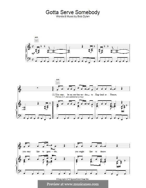 Gotta Serve Somebody: Für Stimme und Klavier (oder Gitarre) by Bob Dylan