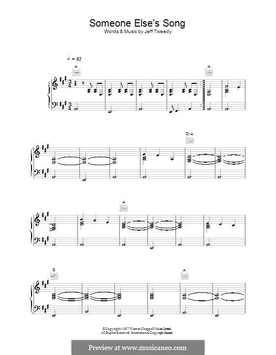 Someone Else's Song (Wilco): Für Stimme und Klavier (oder Gitarre) by Jeff Tweedy
