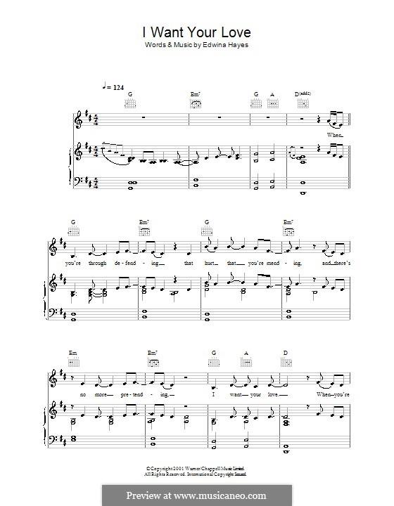 I Want Your Love: Für Stimme und Klavier (oder Gitarre) by Edwina Hayes