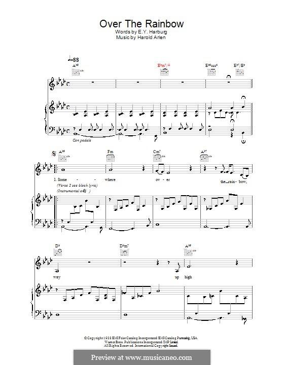 Over the Rainbow (from The Wizard of Oz): Für Stimme mit Klavier oder Gitarre (Eva Cassidy) by Harold Arlen