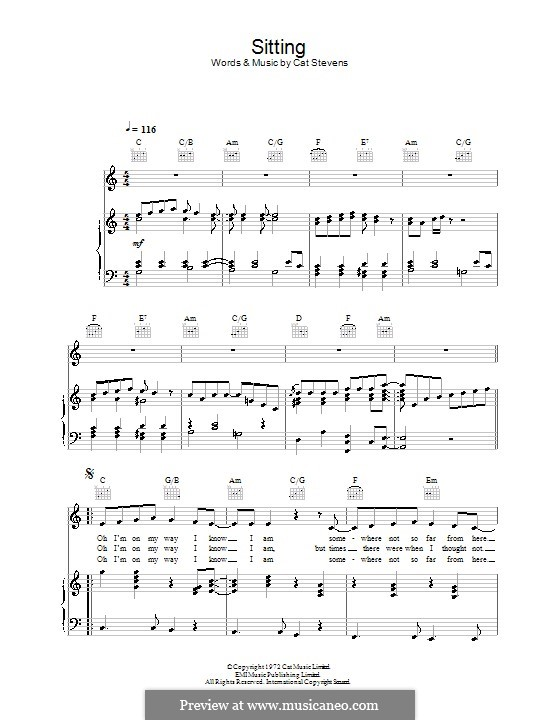 Sitting: Für Stimme und Klavier (oder Gitarre) by Cat Stevens