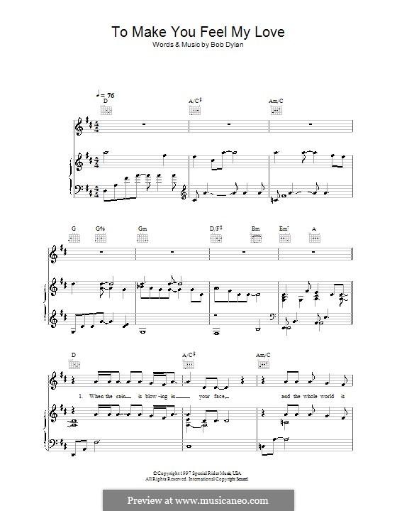 Make You Feel My Love: Für Stimme und Klavier (oder Gitarre) by Bob Dylan