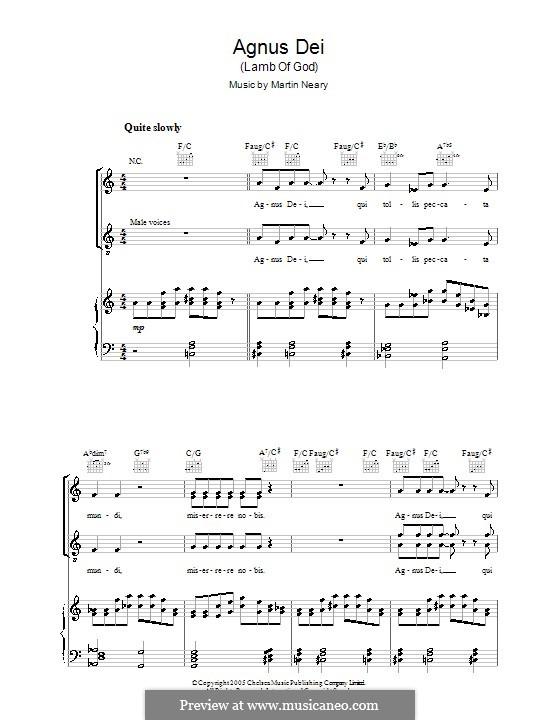 Agnus Dei (Lamb of God): Für Stimme mit Klavier oder Gitarre (The Choirboys) by Martin Neary