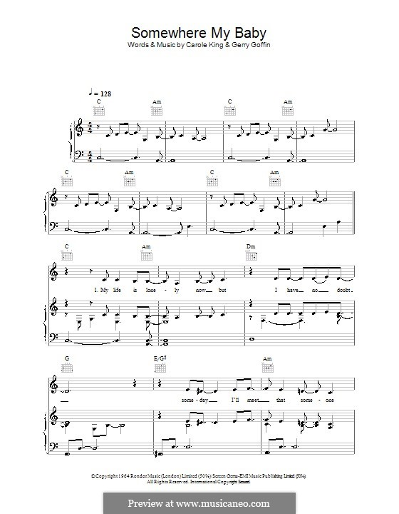 Somewhere My Baby Waits for Me (Lisa Stansfield): Für Stimme und Klavier (oder Gitarre) by Carole King, Gerry Goffin