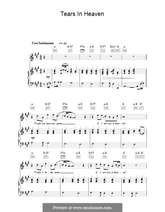 Tears in Heaven: Für Stimme mit Klavier oder Gitarre (The Choirboys) by Eric Clapton, Will Jennings