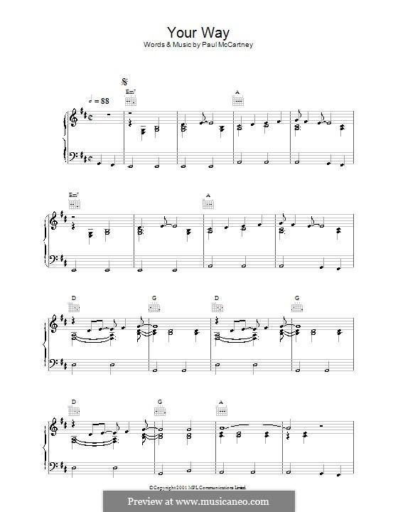 Your Way: Für Stimme und Klavier (oder Gitarre) by Paul McCartney
