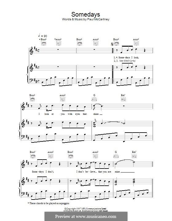 Somedays: Für Stimme und Klavier (oder Gitarre) by Paul McCartney
