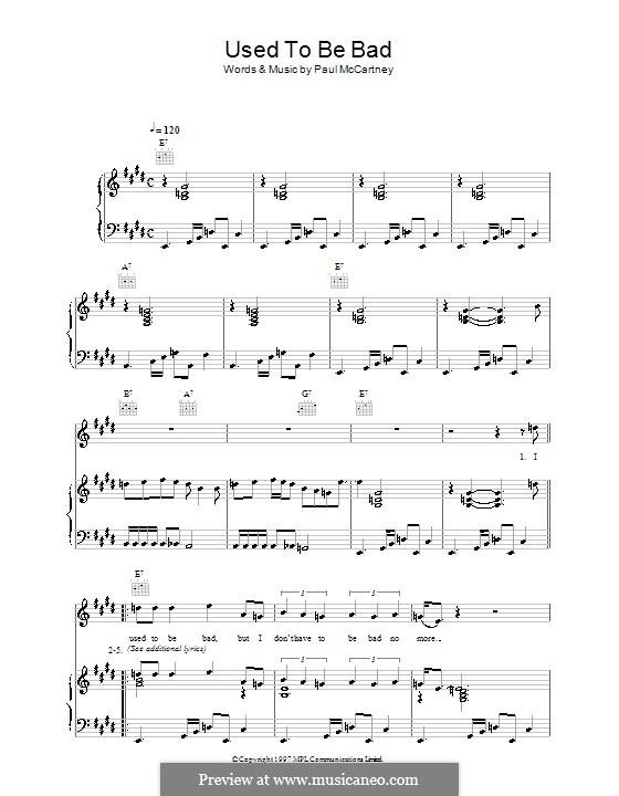 Used To Be Bad: Für Stimme und Klavier (oder Gitarre) by Paul McCartney