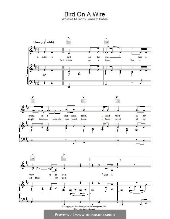 Bird on the Wire (Bird on a Wire): Für Stimme und Klavier (oder Gitarre) by Leonard Cohen