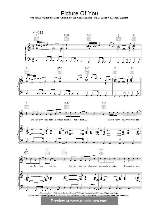 Picture of You (Boyzone): Für Stimme und Klavier (oder Gitarre) by Andy Watkins, Eliot Kennedy, Paul Wilson, Ronan Keating
