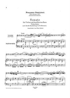 Sonate für Violine und Basso Continuo in c-Moll: Version für Violine (oder Bratsche) und Klavier – Partitur und Stimme by Francesco Geminiani