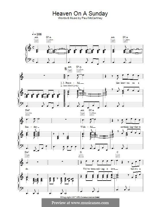 Heaven on a Sunday: Für Stimme und Klavier (oder Gitarre) by Paul McCartney