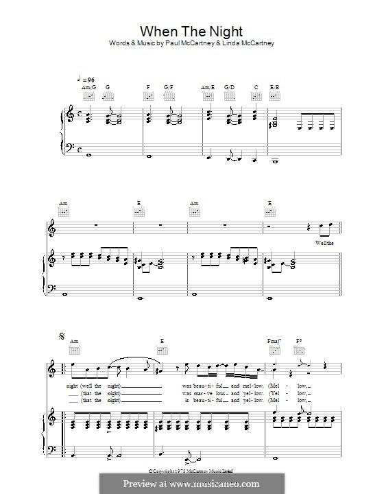 When the Night: Für Stimme und Klavier (oder Gitarre) by Linda McCartney, Paul McCartney