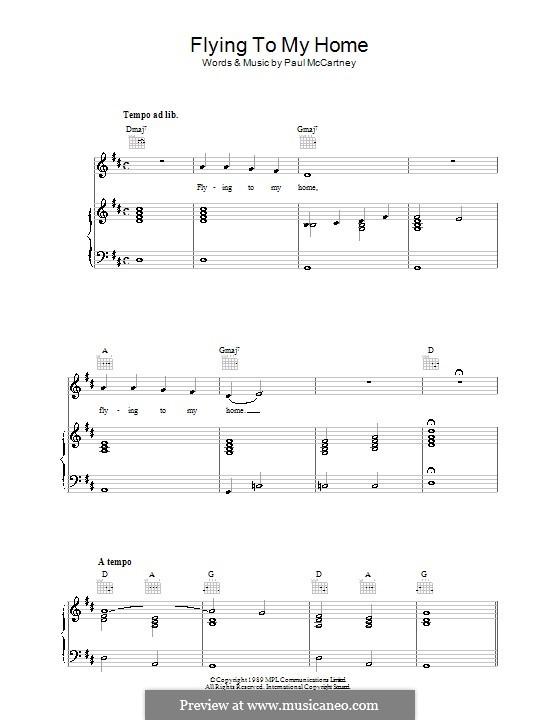Flying to My Home: Für Stimme und Klavier (oder Gitarre) by Paul McCartney