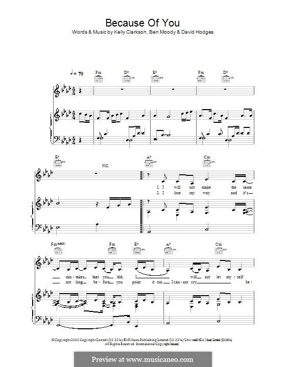 Because of You: Für Stimme und Klavier (oder Gitarre) by Ben Moody, David Hodges, Kelly Clarkson