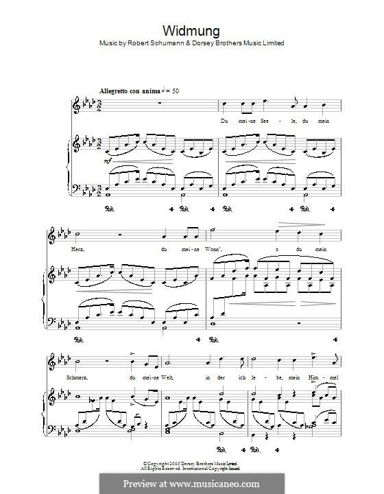 Nr.1 Widmung: Klavierauszug mit Singstimmen (Noten von hoher Qualität) by Robert Schumann
