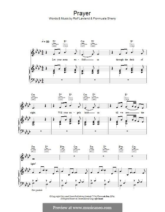 Prayer: Für Stimme mit Klavier oder Gitarre (Hayley Westenra) by Fionnuala Sherry, Nikki Matheson, Rolf Løvland