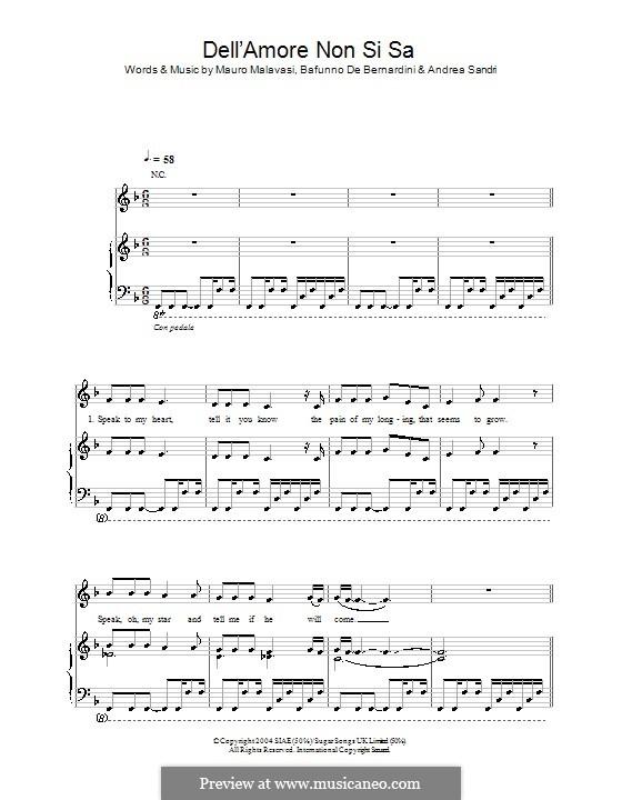 Dell'Amore non Si Sa (Hayley Westenra): Für Stimme und Klavier (oder Gitarre) by Andrea Sandri, Bafunno De Bernardini, Mauro Malavasi