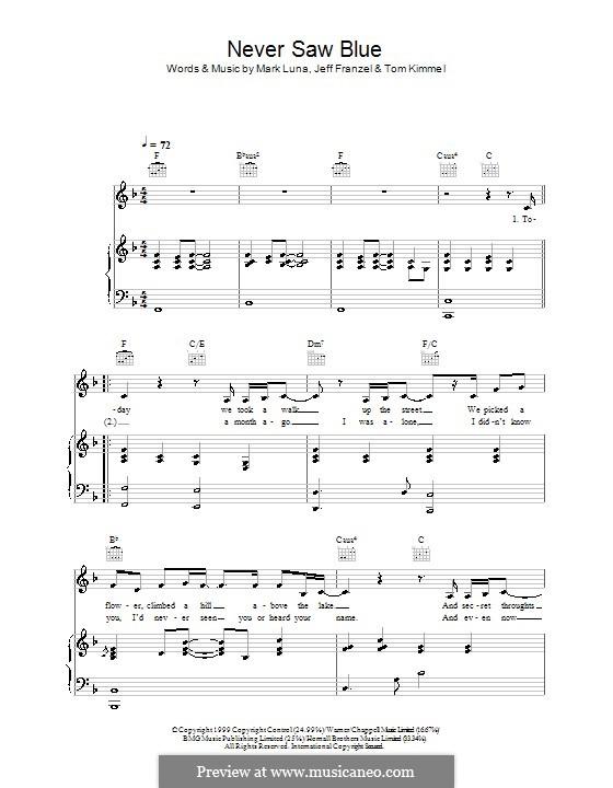 Never Saw Blue (Hayley Westenra): Für Stimme und Klavier (oder Gitarre) by Jeff Franzel, Mark Luna, Tom Kimmel