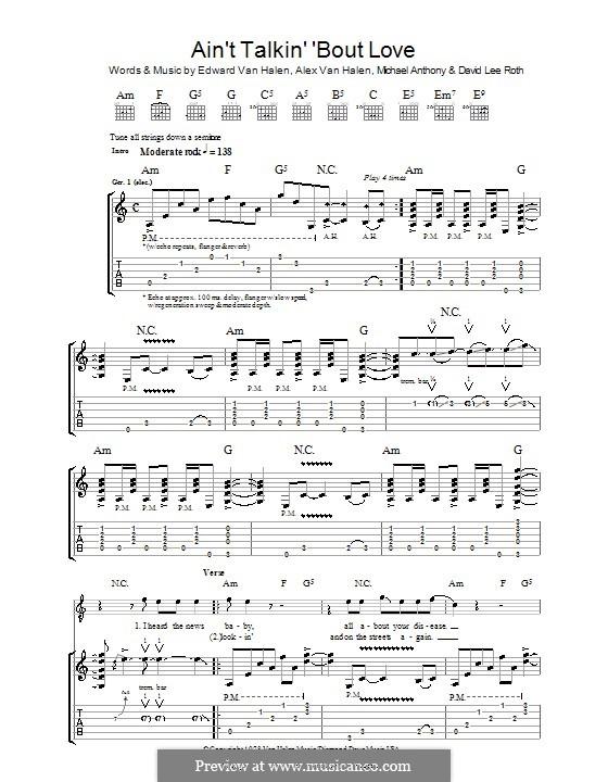 Ain't Talkin' 'Bout Love (Van Halen): Für Gitarre mit Tab by Alex Van Halen, David Lee Roth, Edward Van Halen, Michael Anthony