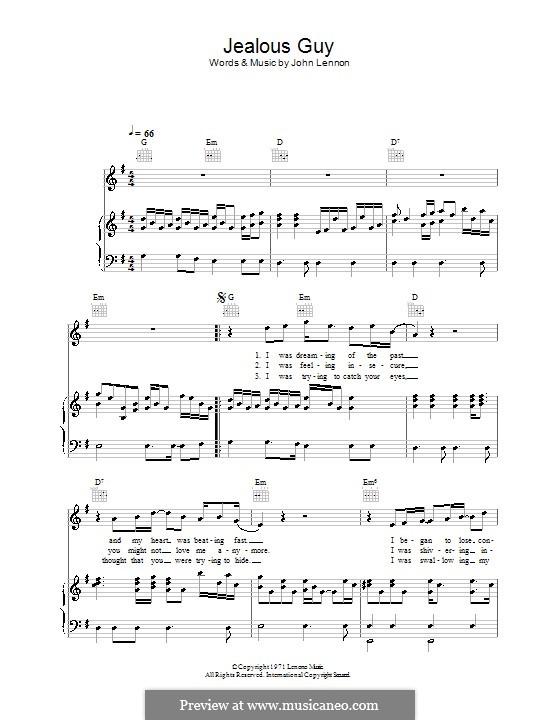 Jealous Guy: Für Stimme und Klavier (oder Gitarre) by John Lennon