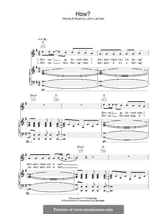 How: Für Stimme und Klavier (oder Gitarre) by John Lennon