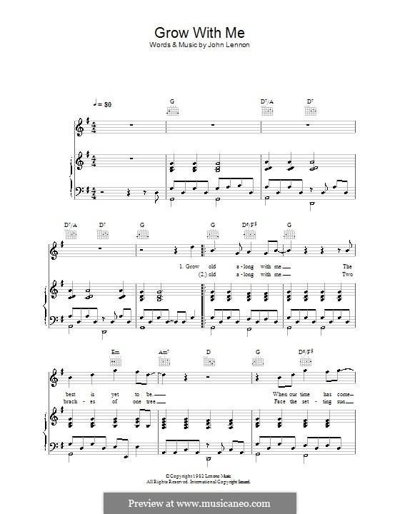 Grow Old With Me: Für Stimme und Klavier (oder Gitarre) by John Lennon