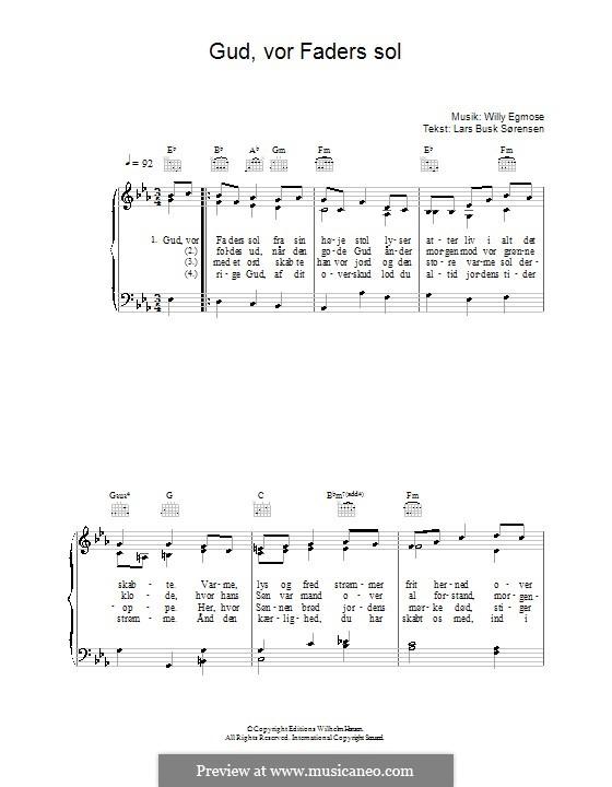 Gud, Vor Faders Sol: Für Stimme und Klavier (oder Gitarre) by Willy Egmose