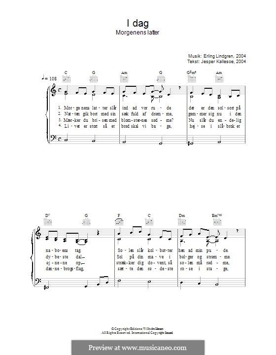 I Dag Morgenens Latter: Für Stimme und Klavier (oder Gitarre) by Erling Lindgren