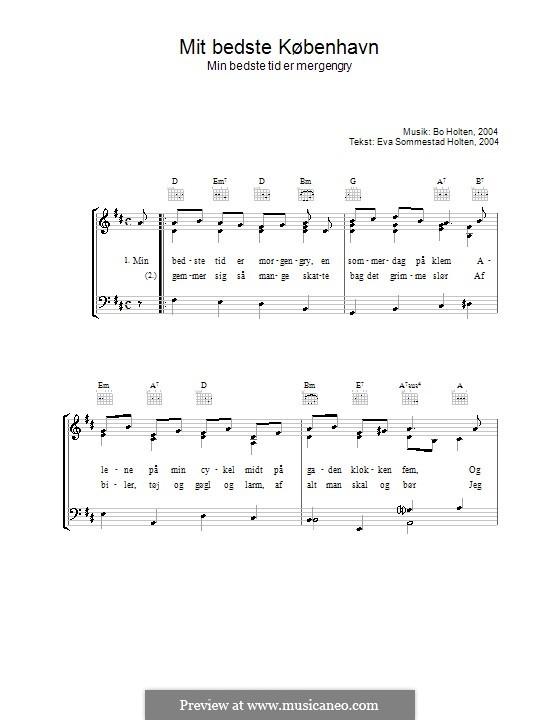 Mit Bedste København: Für Stimme und Klavier (oder Gitarre) by Bo Holten