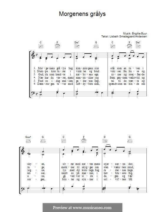 Morgenens Grålys: Für Stimme und Klavier (oder Gitarre) by Birgitte Buur