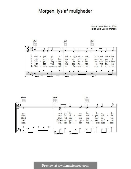 Morgen, Lys Af Muligheder: Für Stimme und Klavier (oder Gitarre) by Irene Becker