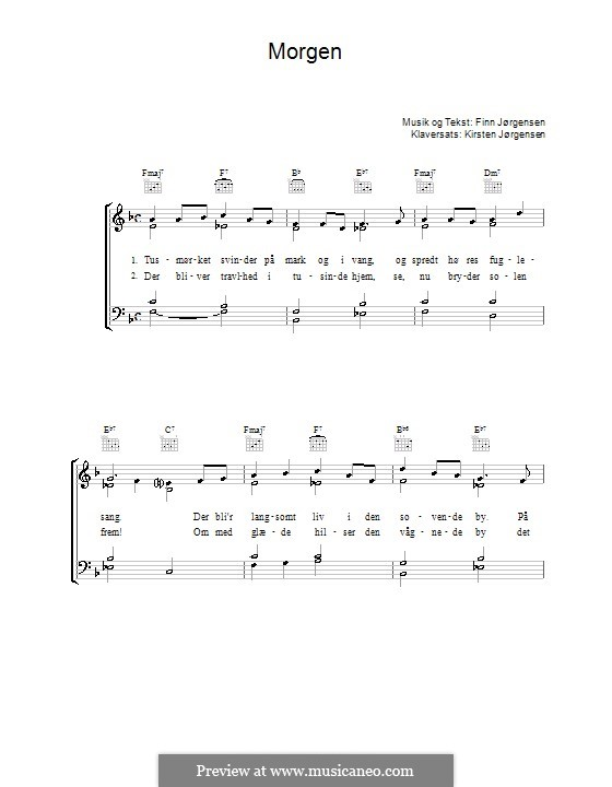 Morgen: Für Stimme und Klavier (oder Gitarre) by Finn Jørgensen