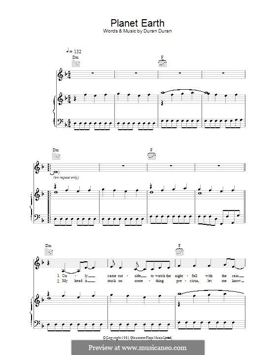 Planet Earth: Für Stimme und Klavier (oder Gitarre) by Duran Duran