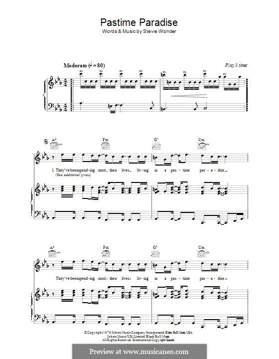 Pastime Paradise: Für Stimme und Klavier (oder Gitarre) by Stevie Wonder
