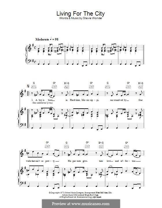 Living for the City: Für Stimme und Klavier (oder Gitarre) by Stevie Wonder