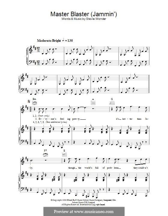 Master Blaster (Jammin'): Für Stimme und Klavier (oder Gitarre) by Stevie Wonder