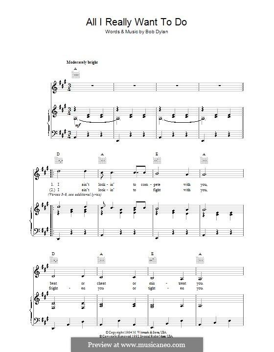 All I Really Want to Do: Für Stimme und Klavier (oder Gitarre) by Bob Dylan
