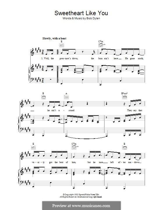 Sweetheart Like You: Für Stimme und Klavier (oder Gitarre) by Bob Dylan